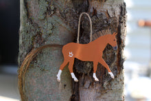 Load image into Gallery viewer, Classic Wooden Heart Horse Wall Hanging/Ornament (With Real Mane & Tail)