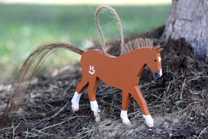 Classic Wooden Heart Horse Wall Hanging/Ornament (With Real Mane & Tail)