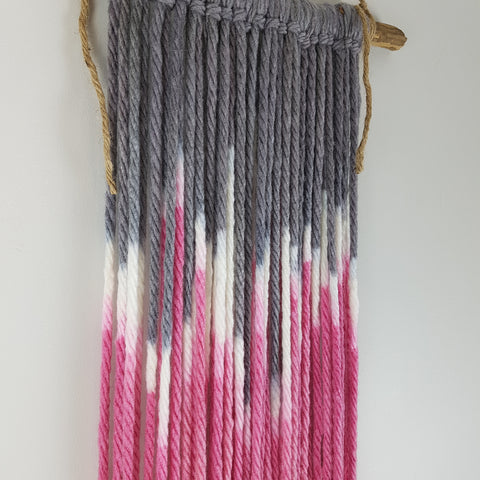 Pink and grey fiber/fibre art wall hanging