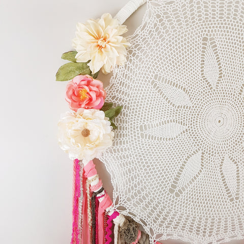 Giant Coral dreamcatcher for girls room, taupe, cream and hot pink accents.