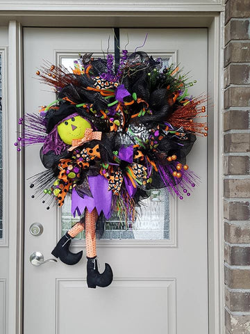 Large Halloween Witch Wreath
