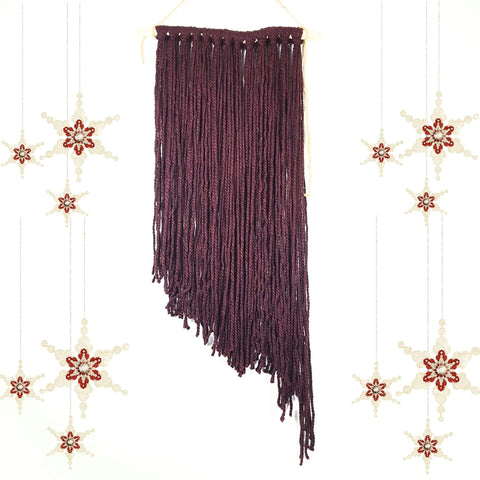 Burgundy Boho Fiber Art Wall Hanging