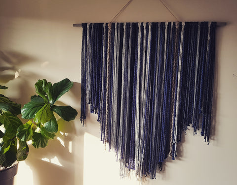 Smokey Blue Fiber/Fibre Art Wall Hanging