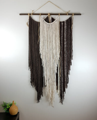 Triple Fringe Boho Fiber Art Wall Hanging