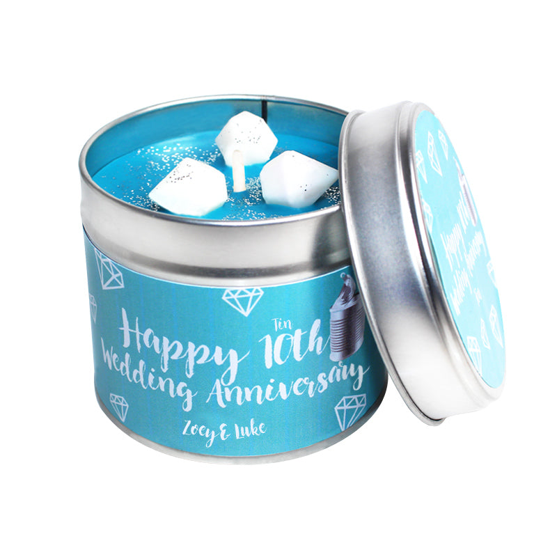 Personalised 10th Year Tin Wedding Anniversary Candle Tin