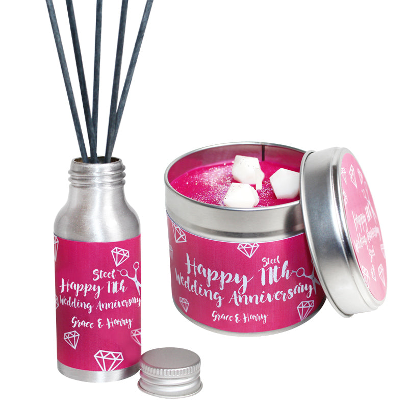 11th Year Steel Wedding Anniversary Candle & Diffuser Gift Set