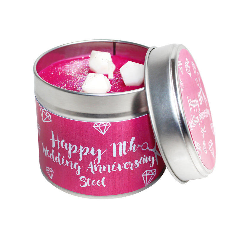 11th Year Steel Wedding Anniversary Candle Tin