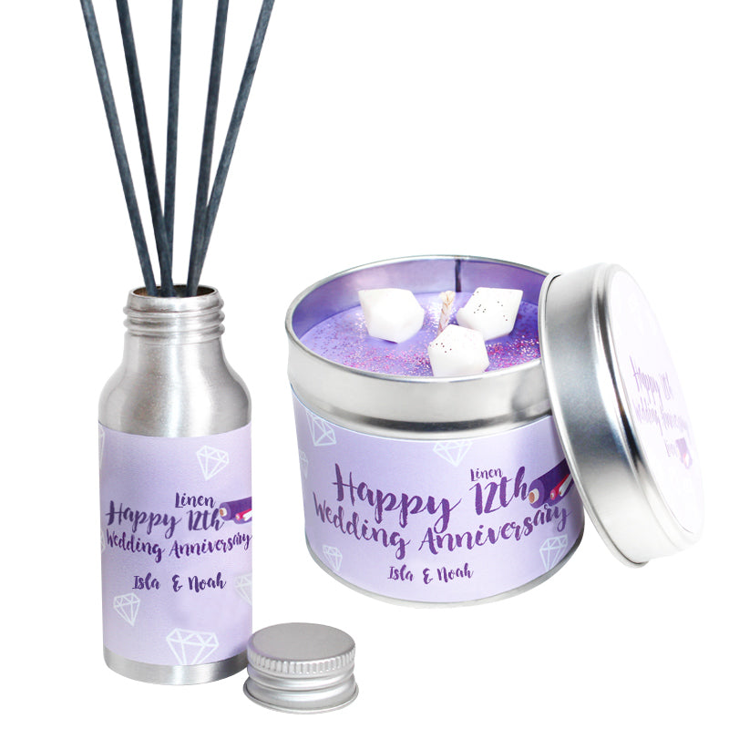 Personalised 12th Year Linen Wedding Anniversary Candle & Diffuser Gift Set