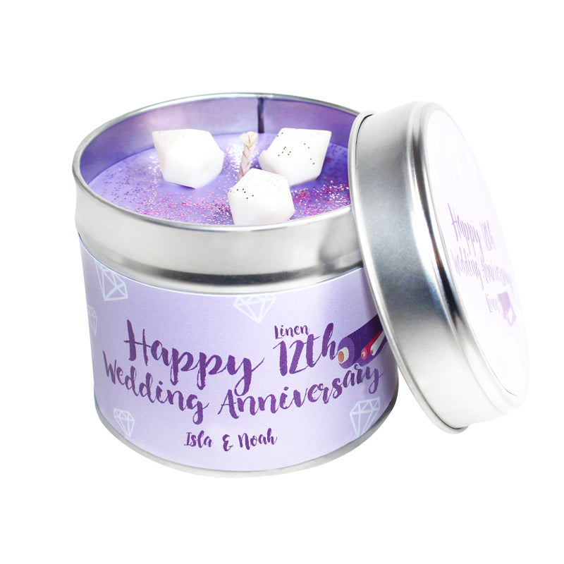 Personalised 12th Year Linen Wedding Anniversary Candle Tin