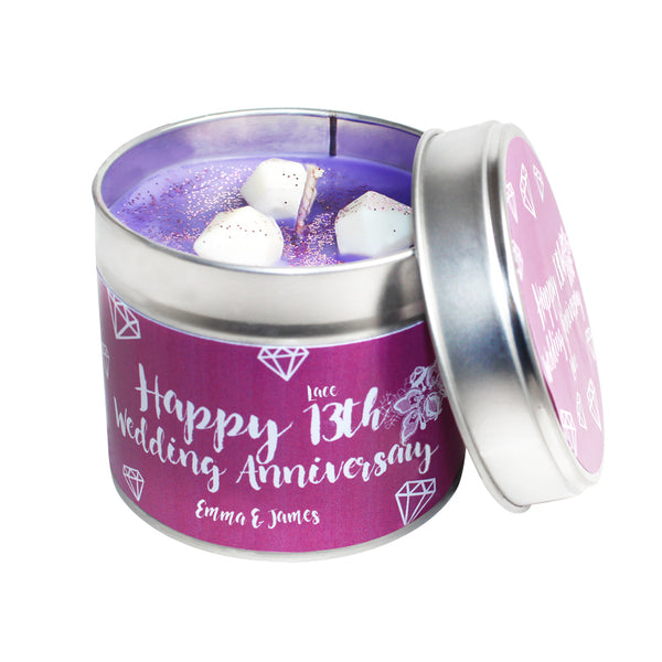 Personalised 13th Year Lace Wedding Anniversary Candle Tin
