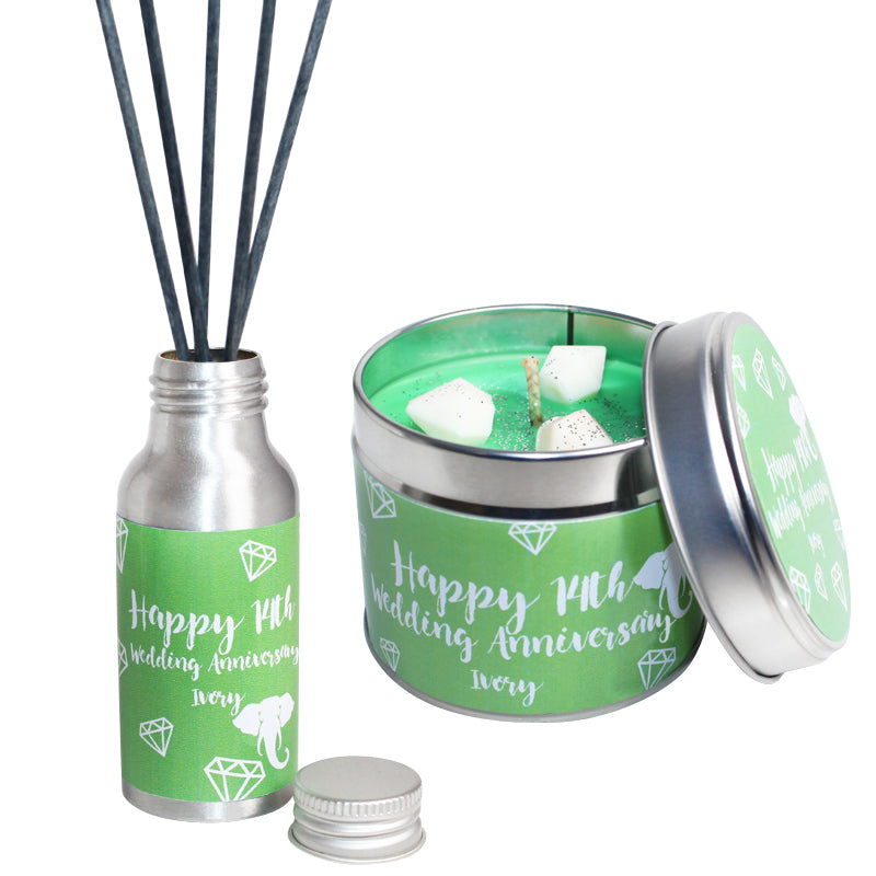 14th Year Ivory Wedding Anniversary Candle & Diffuser Gift Set