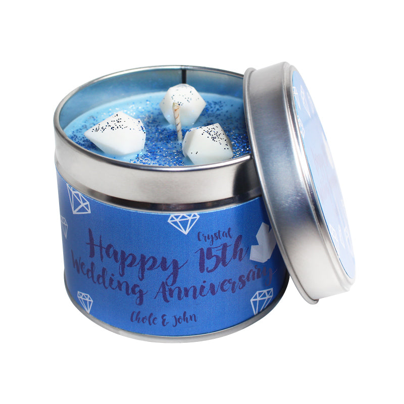 Personalised 15th Year Crystal Wedding Anniversary Candle Tin