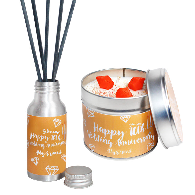 Personalised 16th Year Silverware Wedding Anniversary Candle & Diffuser Gift Set