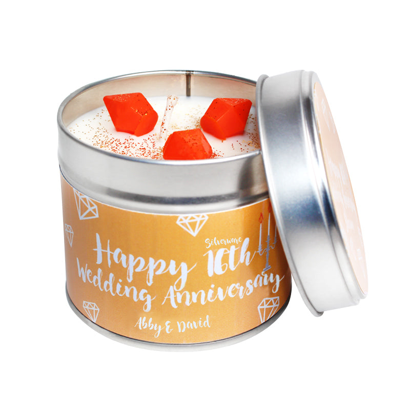 Personalised 16th Year Silverware Wedding Anniversary Candle Tin