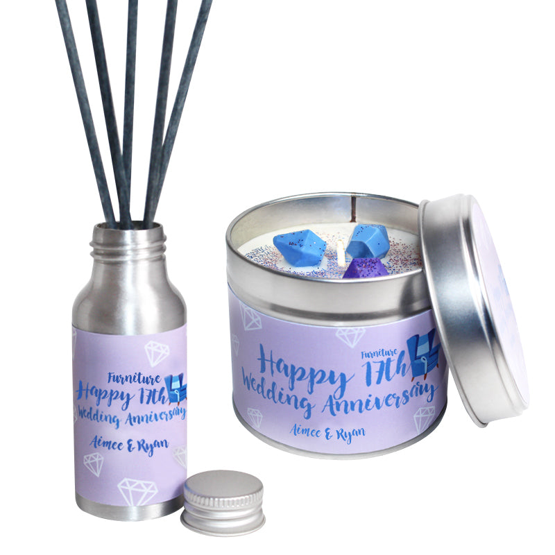 Personalised 17th Year Furniture Wedding Anniversary Candle & Diffuser Gift Set