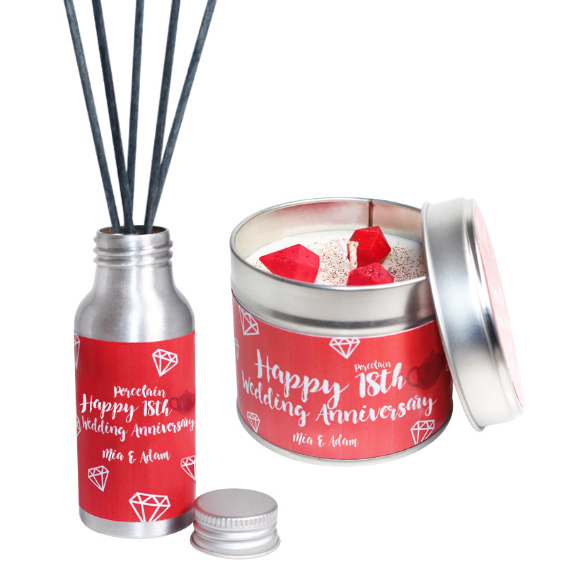 Personalised 18th Year Porcelain Wedding Anniversary Candle & Diffuser Gift Set