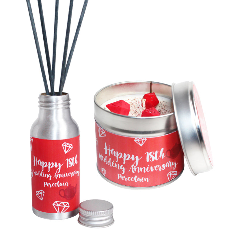 18th Year Porcelain Wedding Anniversary Candle & Diffuser Gift Set