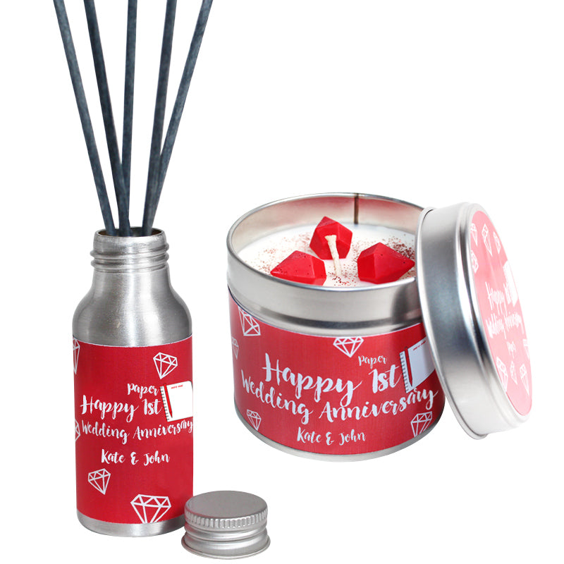 Personalised 1st Year Paper Wedding Anniversary Candle & Diffuser Gift Set