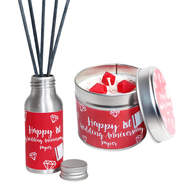 1st Year Paper Wedding Anniversary Candle & Diffuser Gift Set