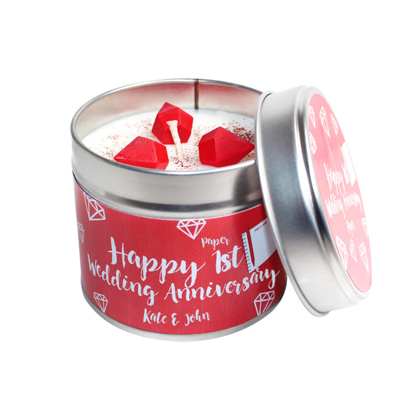 Personalised 1st Year Paper Wedding Anniversary  Candle Tin
