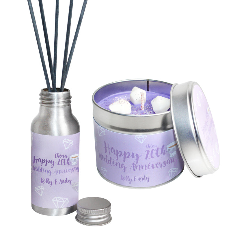 Personalised 20th Year China Wedding Anniversary Candle & Diffuser Gift Set