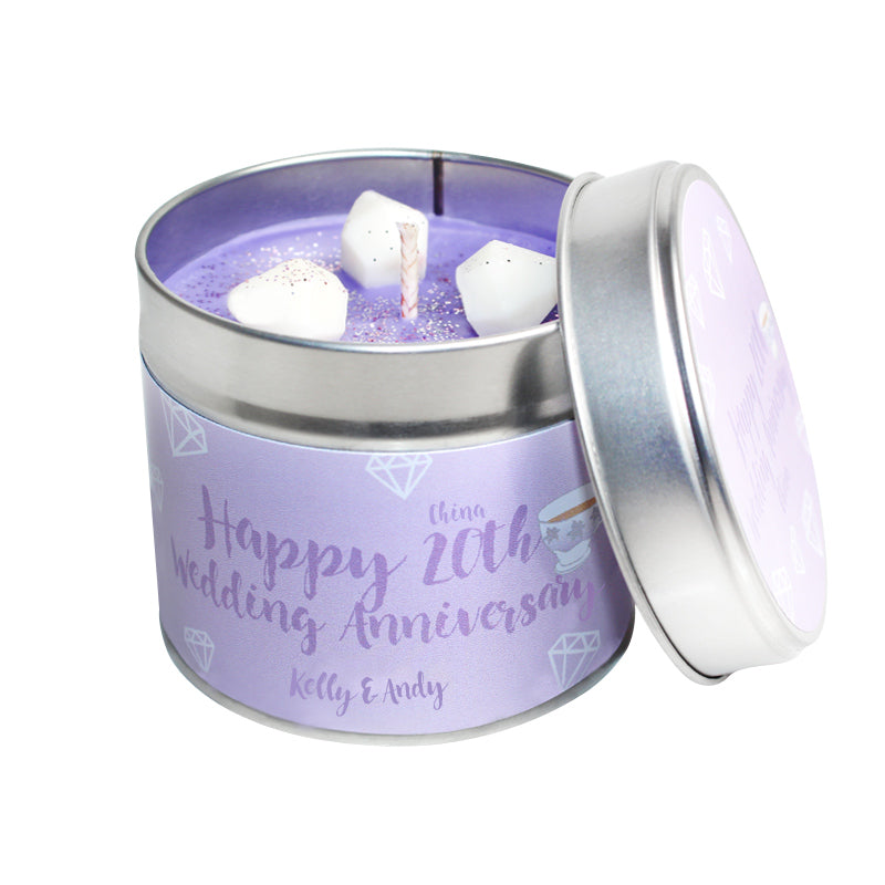 Personalised 20th Year China Wedding Anniversary Candle Tin