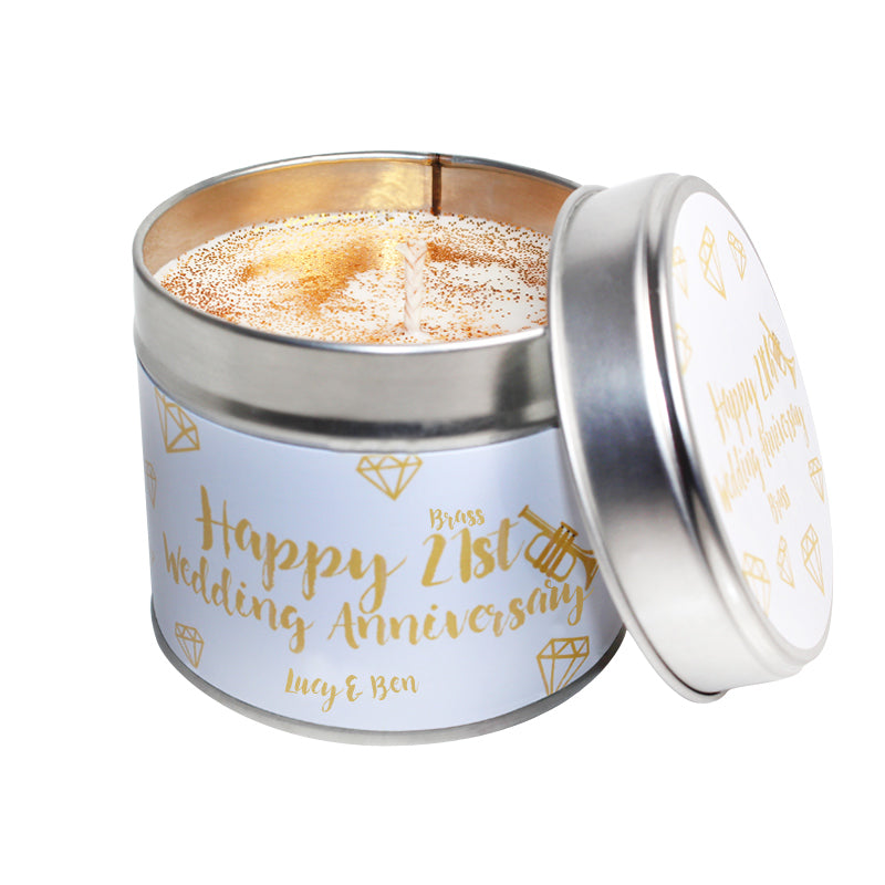Personalised 21st Year Brass Wedding Anniversary Candle Tin
