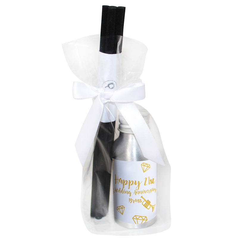 Personalised 21st Year Brass Wedding Anniversary Candle & Diffuser Gift Set