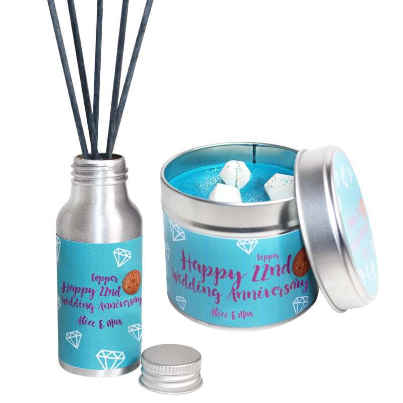 Personalised 22nd Year Copper Wedding Anniversary Candle & Diffuser Gift Set
