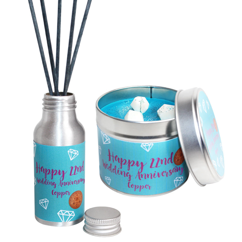 22nd Year Copper Wedding Anniversary Candle & Diffuser Gift Set