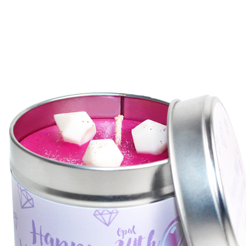 Personalised 24th Opal Wedding Anniversary Candle Tin