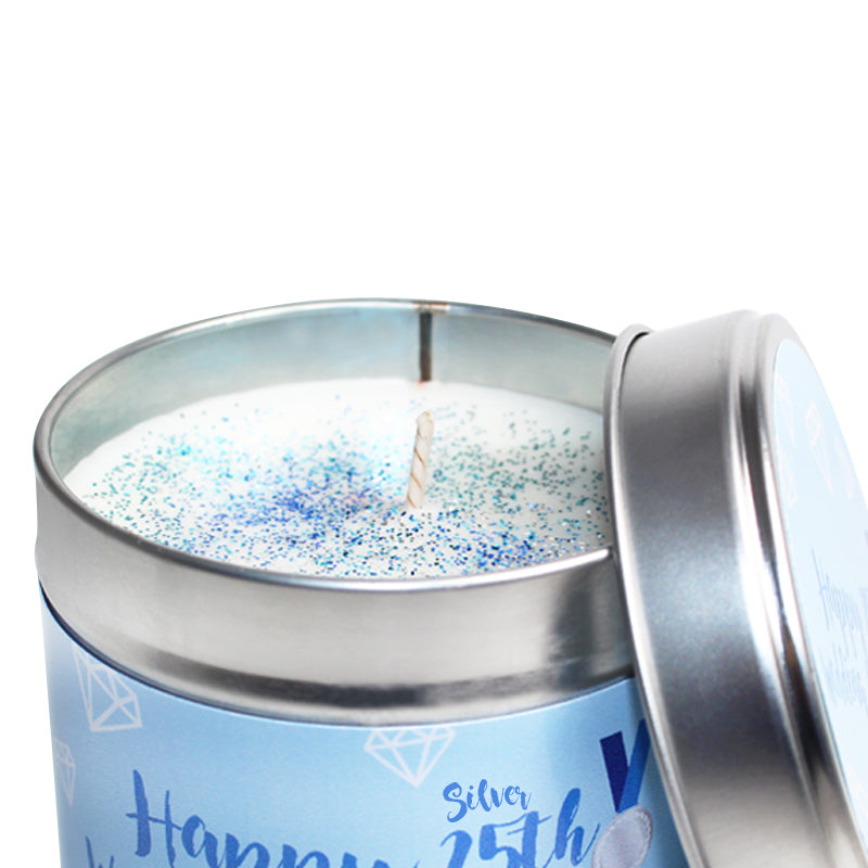 Personalised 25th Silver Wedding Anniversary Candle Tin