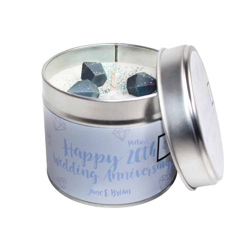 Personalised 26th Picture Wedding Anniversary Candle Tin