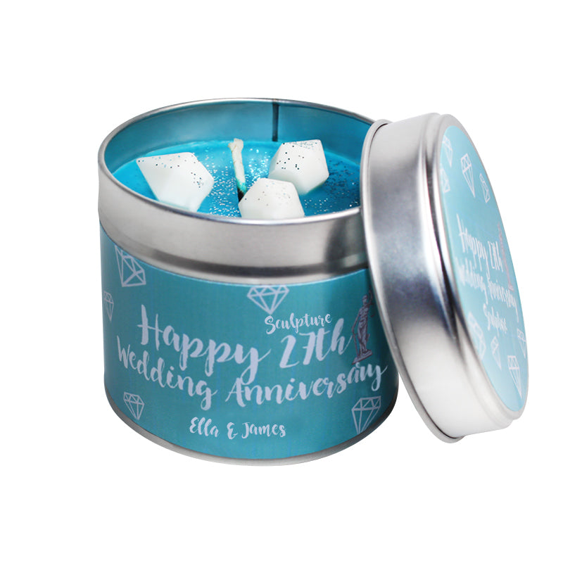 Personalised 27th Sculpture Wedding Anniversary Candle Tin