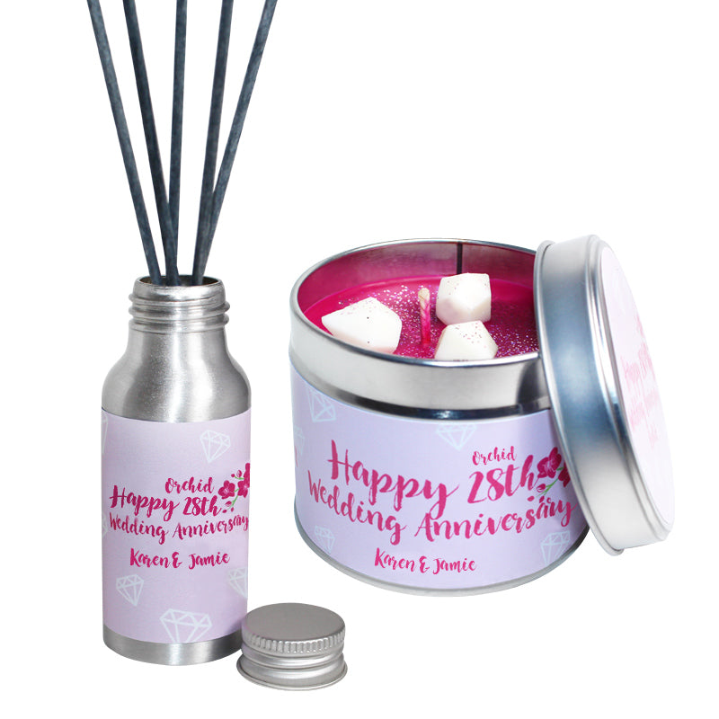 Personalised 28th Year Orchid Wedding Anniversary Candle & Diffuser Gift Set