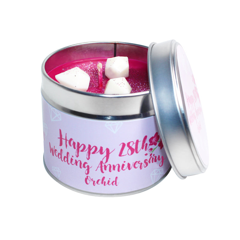 28th Orchid Wedding Anniversary Candle Tin