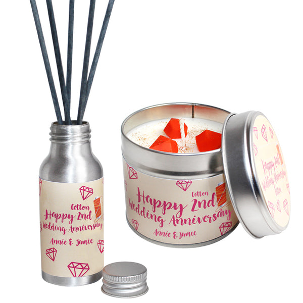 Personalised 2nd Year Cotton Wedding Anniversary Candle & Diffuser Gift Set