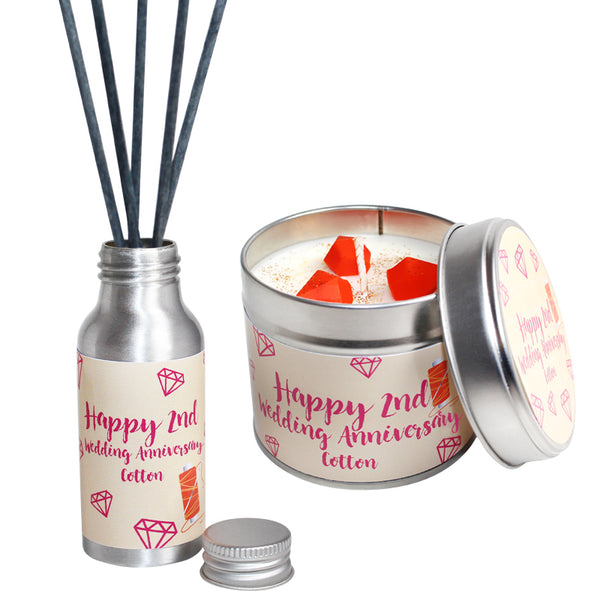 2nd Year Cotton Wedding Anniversary Candle & Diffuser Gift Set