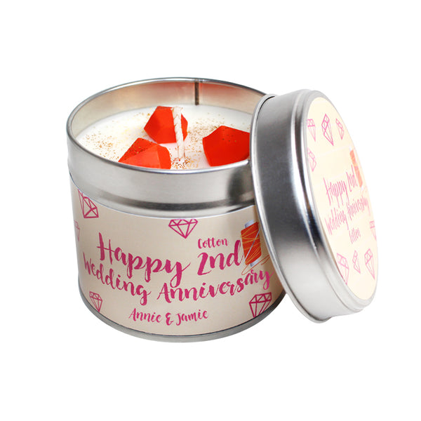 Personalised 2nd Year Cotton Wedding Anniversary Candle Tin