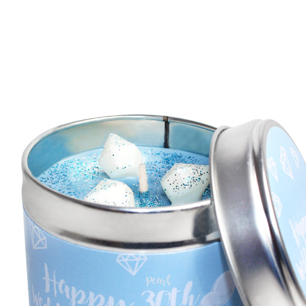 Personalised 30th Pearl Wedding Anniversary Candle Tin