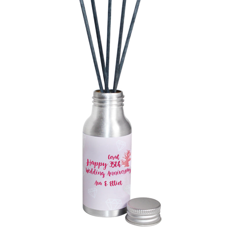 Personalised 35th Year Coral Wedding Anniversary Oil Reed Tin Diffuser