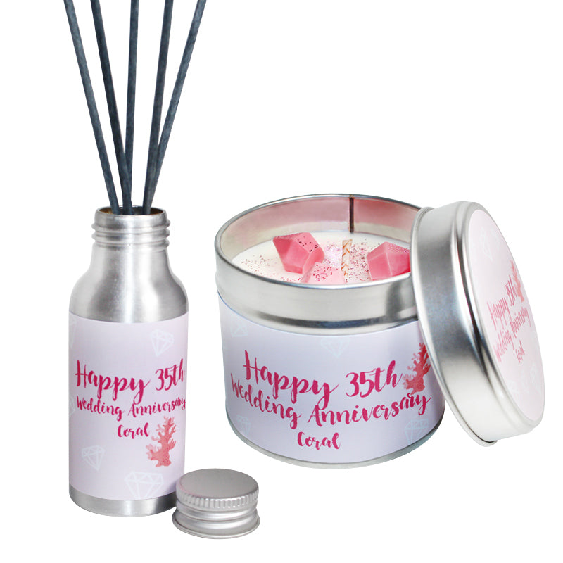 35th Year Coral Wedding Anniversary Candle & Diffuser Gift Set