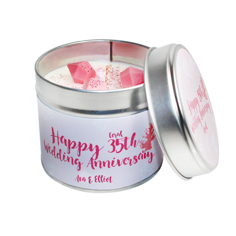 Personalised 35th Coral Wedding Anniversary Candle Tin