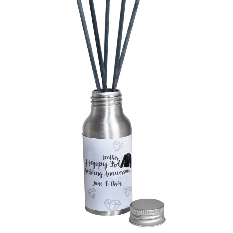 Personalised 3rd Year Leather Wedding Anniversary Oil Reed Tin Diffuser