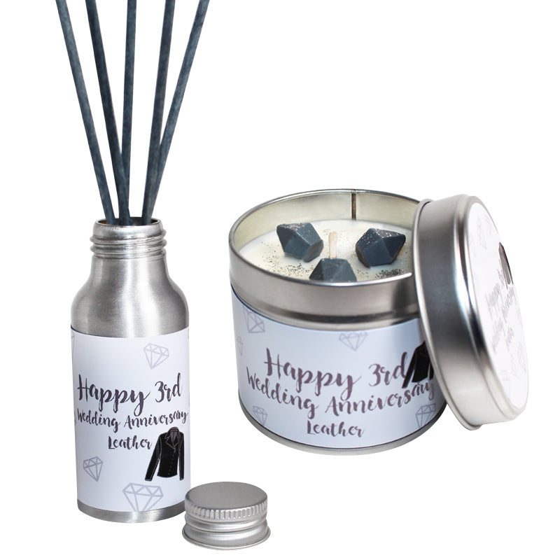 3rd Year Leather Wedding Anniversary Candle & Diffuser Gift Set
