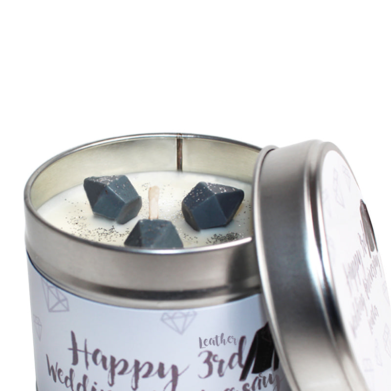 Personalised 3rd Year Leather Wedding Anniversary Candle Tin