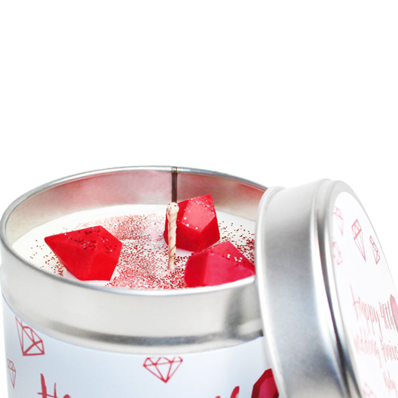 40th Ruby Wedding Anniversary Candle Tin