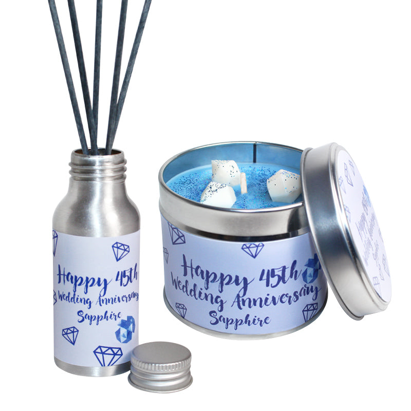 45th Year Sapphire Wedding Anniversary Candle & Diffuser Gift Set