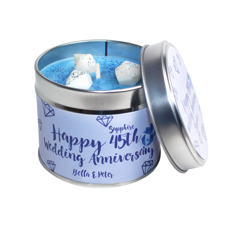 Personalised 45th Sapphire Wedding Anniversary Candle Tin
