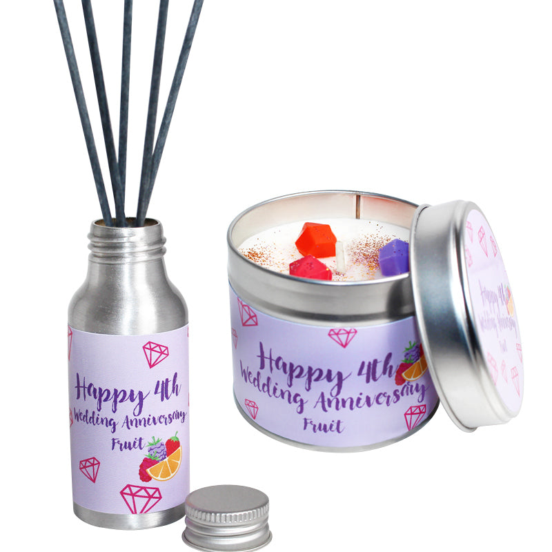 4th Year Fruit Wedding Anniversary Candle & Diffuser Gift Set